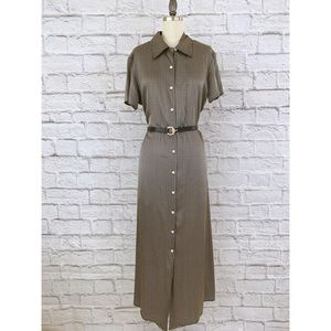 Halston Silk Long Shirt Dress